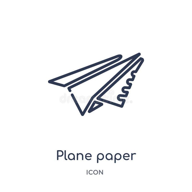 Icona piana lineare della carta dalla raccolta del profilo generale Linea sottile icona piana della carta isolata su fondo bianco royalty illustrazione gratis