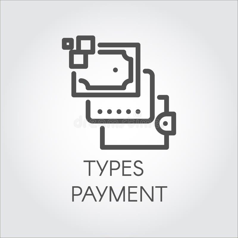 Icona piana lineare nera della carta di credito e di altri tipi pagamento Grafico di vettore royalty illustrazione gratis