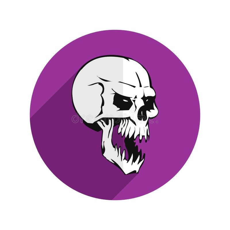 Icona piana porpora rotonda per il sito Web, cranio grigio aggressivo, su wh illustrazione vettoriale