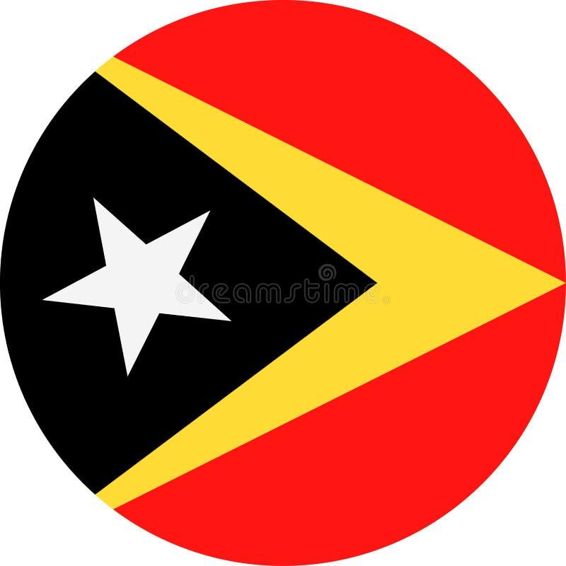 Icona piana rotonda di vettore della bandiera di Timor orientale illustrazione vettoriale