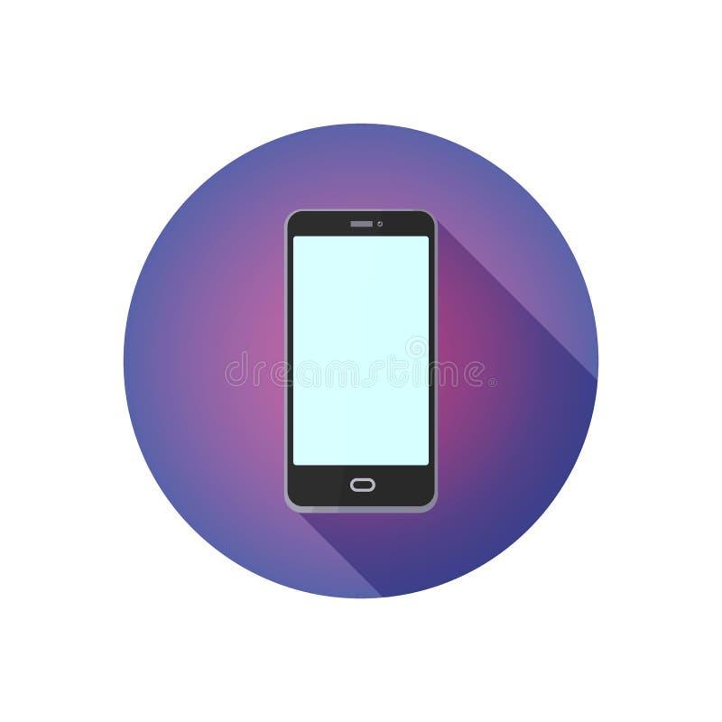 Icona piana rotonda per il sito Web Telefono cellulare su fondo porpora, illustrazione di stock