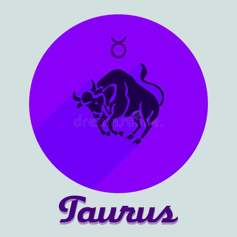 Icona piana rotonda per un sito, segno del Toro dello zodiaco, blu sulla a royalty illustrazione gratis