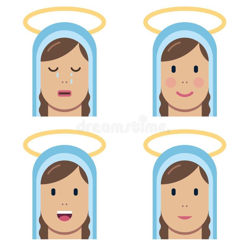 Icona piana santa di vergine Maria royalty illustrazione gratis