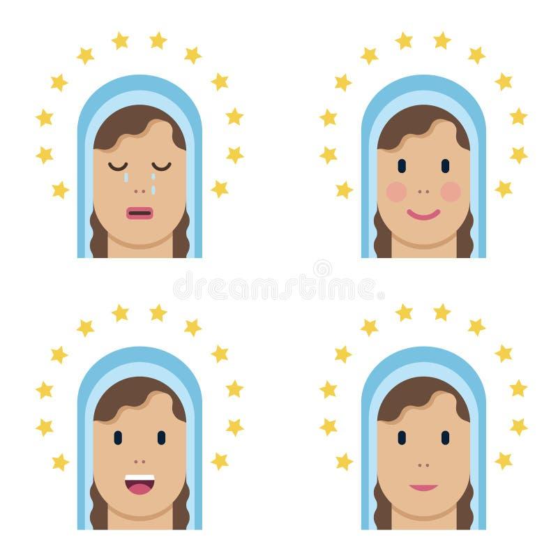 Icona piana santa di vergine Maria illustrazione di stock