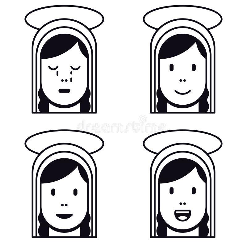 Icona piana santa di vergine Maria illustrazione vettoriale