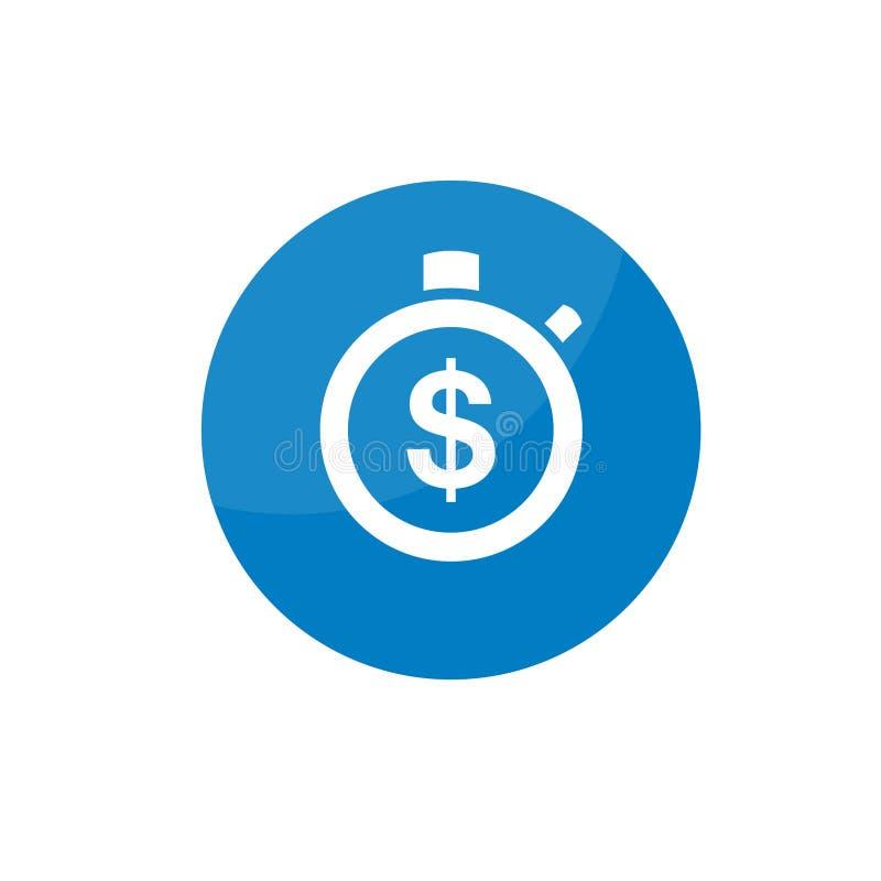 Icona piana semplice del cronometro Il tempo è denaro illustrazione di stock