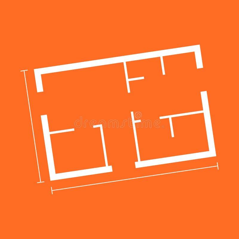 Icona piana semplice della pianta della casa Illustrazione di vettore su backg arancio illustrazione di stock
