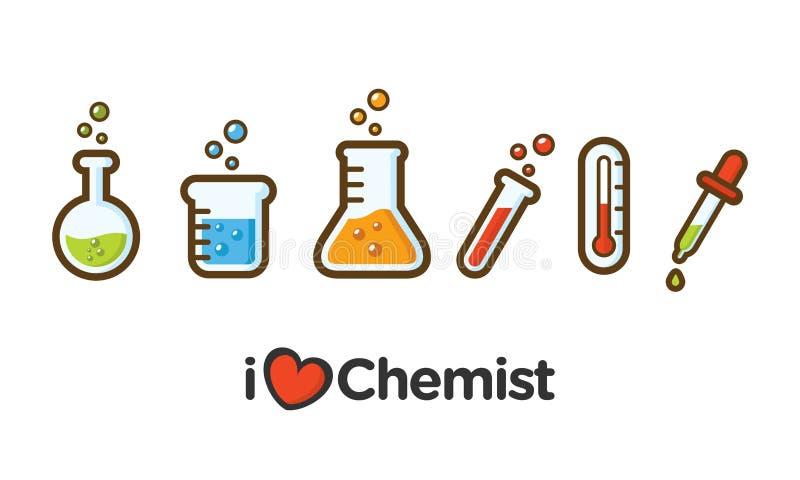 Icona piana semplice di chimica Icona degli strumenti del laboratorio di chimica con stile descritto immagine stock libera da diritti