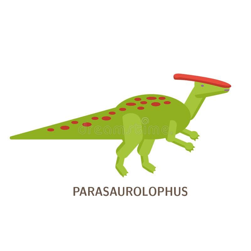 Icona piana semplice di stile di Parasaurolophus Pittogramma del dinosauro per la stampa sulla maglietta o sulla carta di progett royalty illustrazione gratis