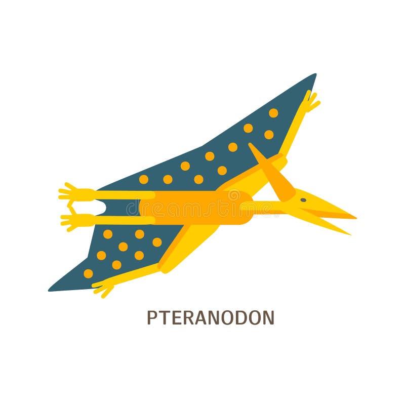 Icona piana semplice di stile di Pteranodon Pittogramma di pterosaur per la stampa sulla maglietta o sulla carta di progettazione royalty illustrazione gratis