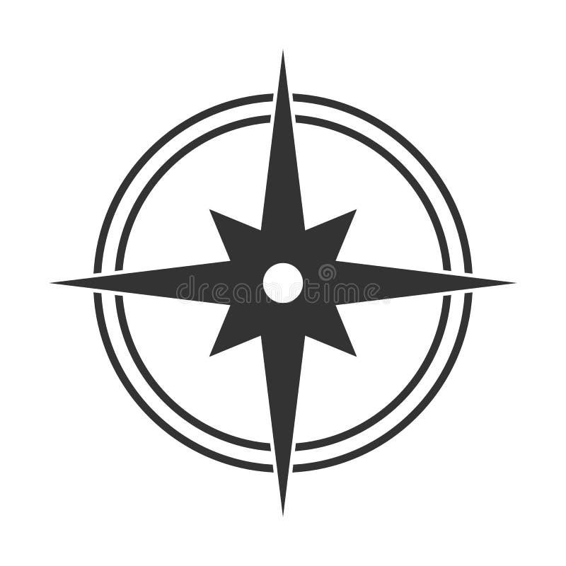 Icona piana semplice di una bussola, di un orienteering e di una bussola royalty illustrazione gratis