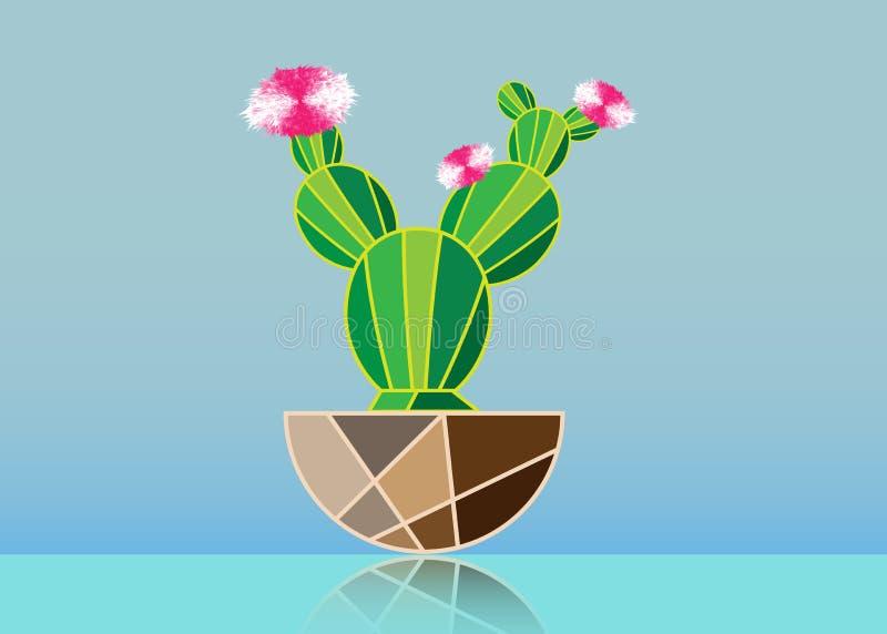 Icona piana semplice di vettore del cactus Il cactacea verde con il rosa fiorisce il pittogramma isolato su fondo blu illustrazione vettoriale