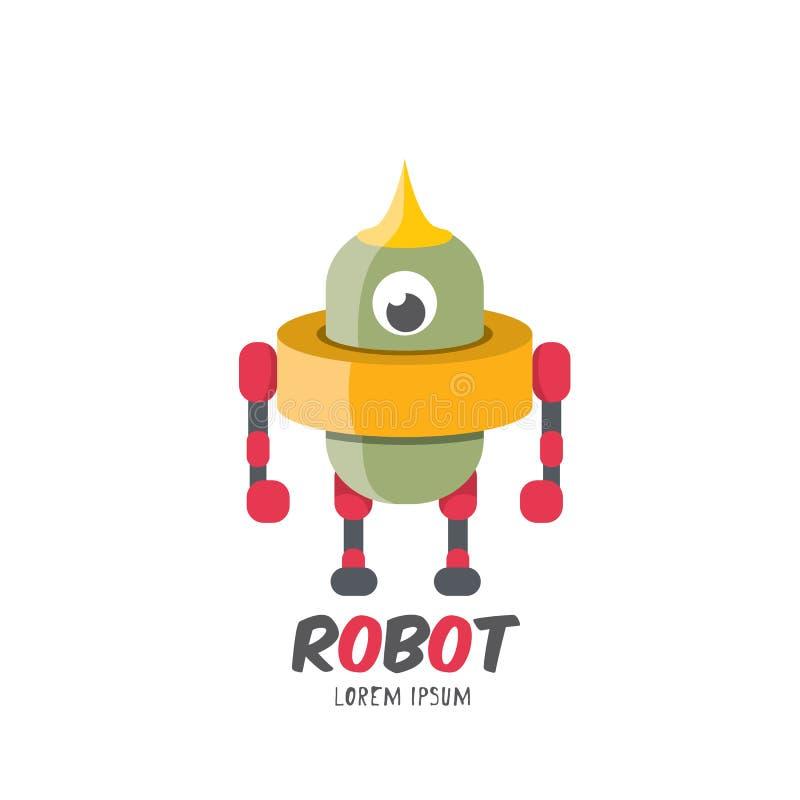 Icona piana sveglia del robot del fumetto di vettore royalty illustrazione gratis