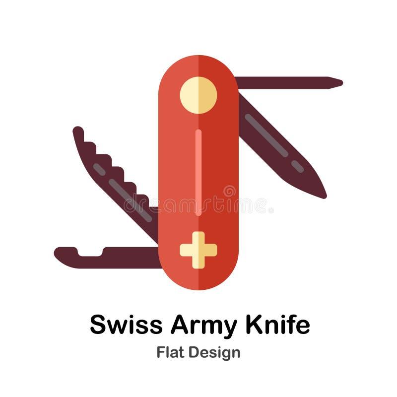 Icona piana svizzera del coltello di esercito illustrazione di stock