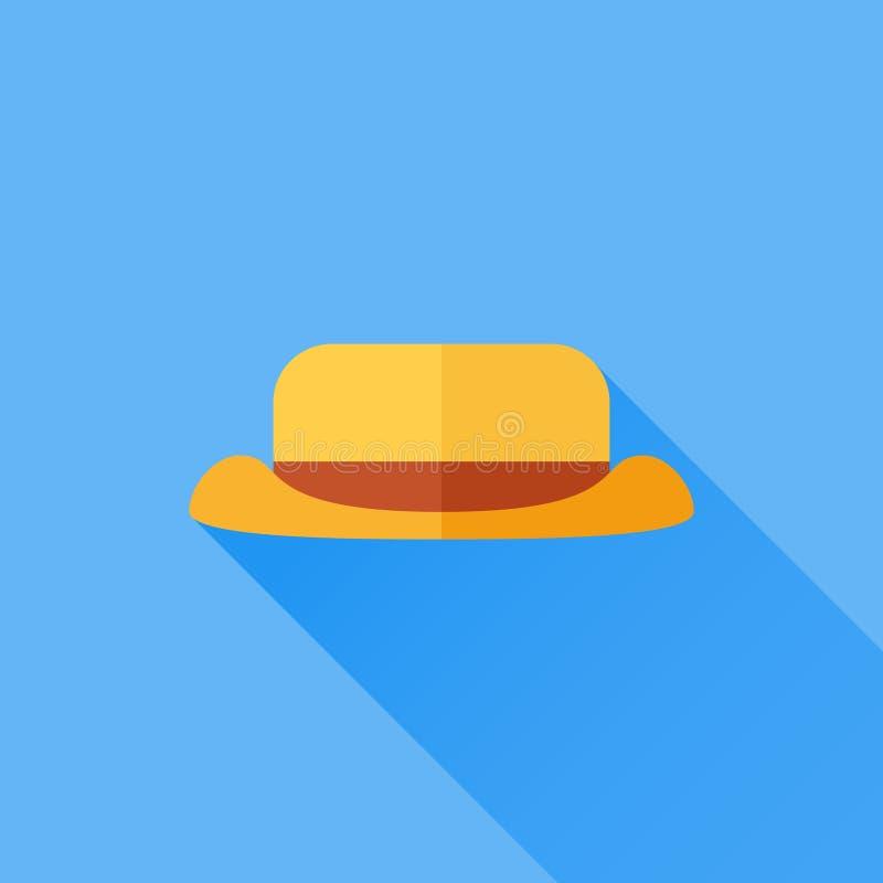 Icona piana turistica o di campeggio del cappello con ombra lunga su fondo blu royalty illustrazione gratis