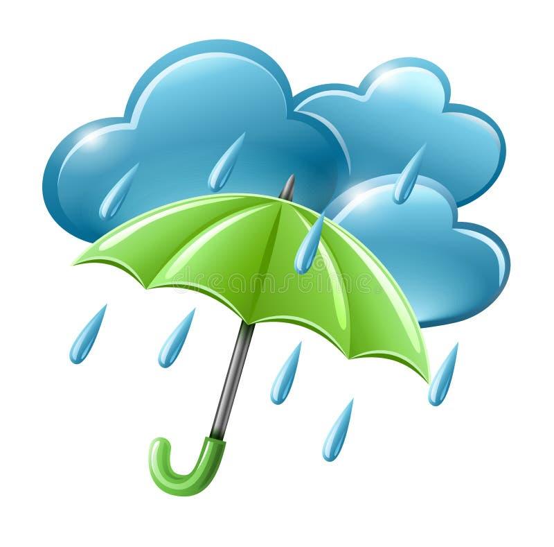 Icona piovosa del tempo con le nubi e l'ombrello illustrazione di stock