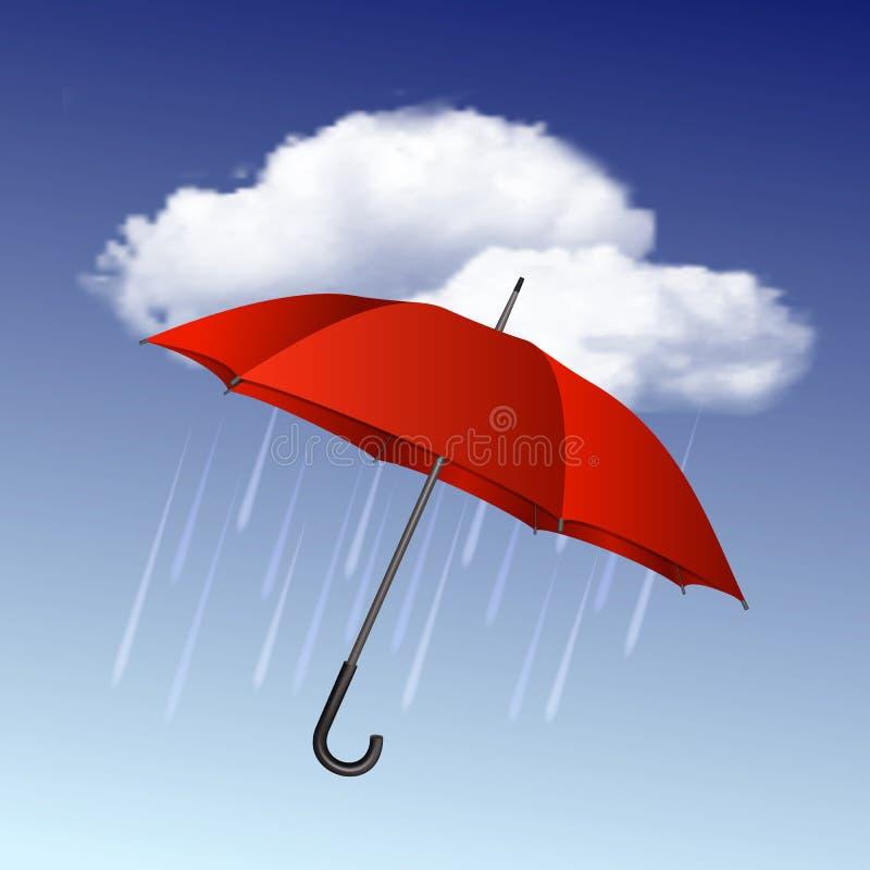 Icona piovosa del tempo con le nuvole e l'ombrello illustrazione vettoriale