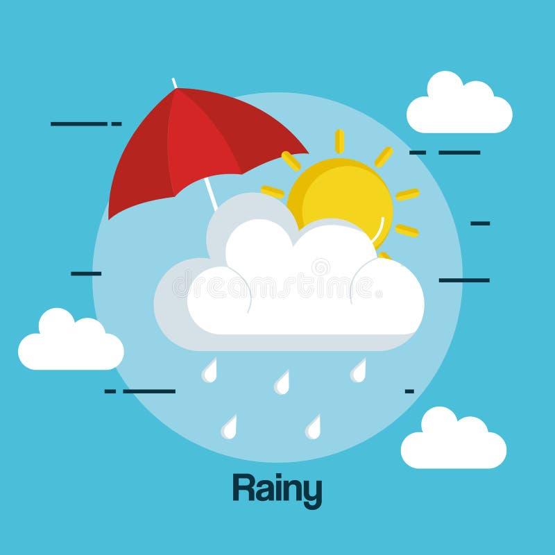Icona piovosa di stato del tempo illustrazione vettoriale