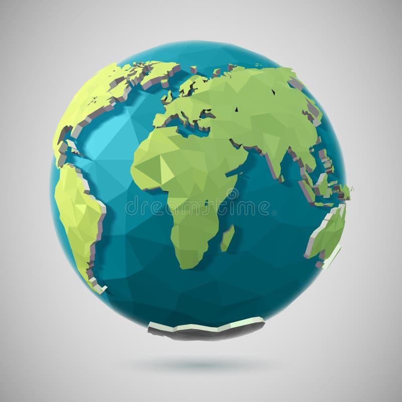 Icona poligonale del globo illustrazione di stock