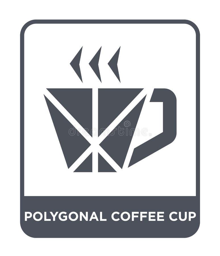 icona poligonale della tazza di caffè nello stile d'avanguardia di progettazione icona poligonale della tazza di caffè isolata su royalty illustrazione gratis