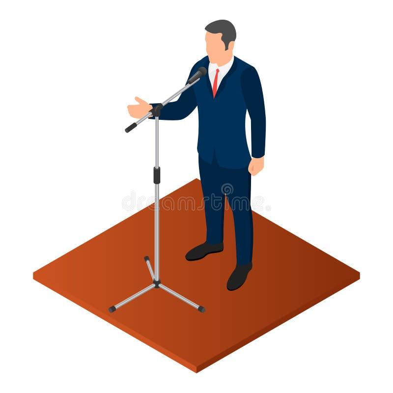 Icona politica dell'oratore, stile isometrico illustrazione vettoriale