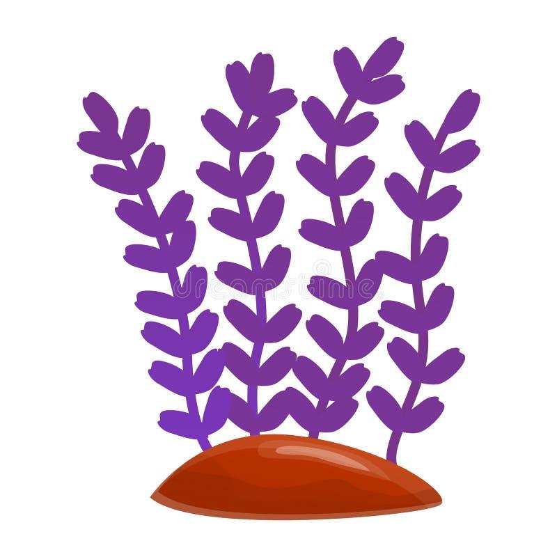 Icona porpora della pianta dell'acquario, stile del fumetto illustrazione di stock