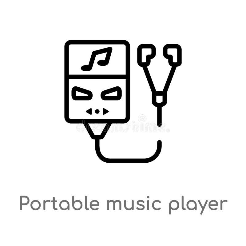 icona portatile di vettore del lettore del profilo linea semplice nera isolata illustrazione dell'elemento dal concetto elettroni royalty illustrazione gratis