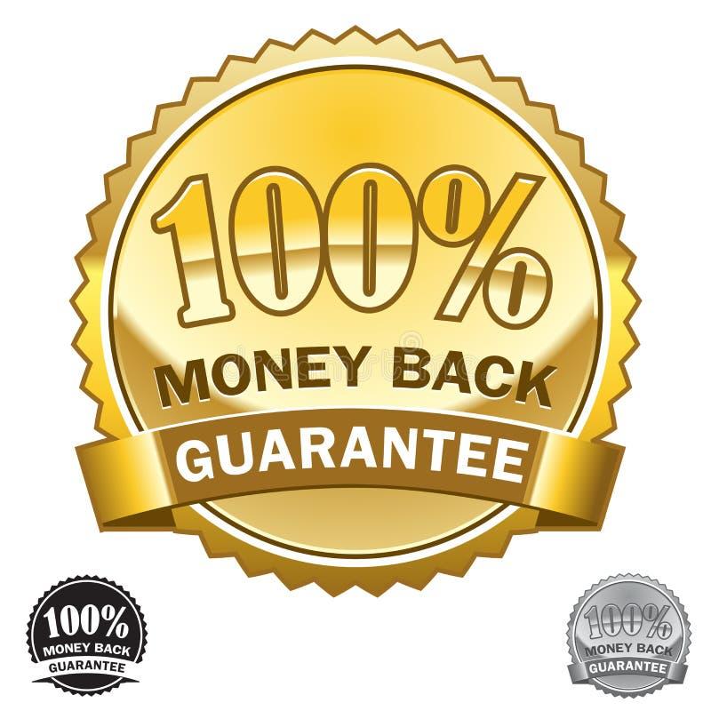 Icona posteriore 100% di garanzia dei soldi illustrazione vettoriale