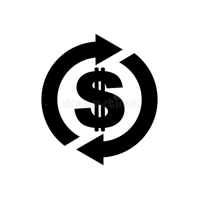 Icona posteriore dei contanti Il simbolo è ritorno di soldi Segno di un rimborso della d illustrazione di stock
