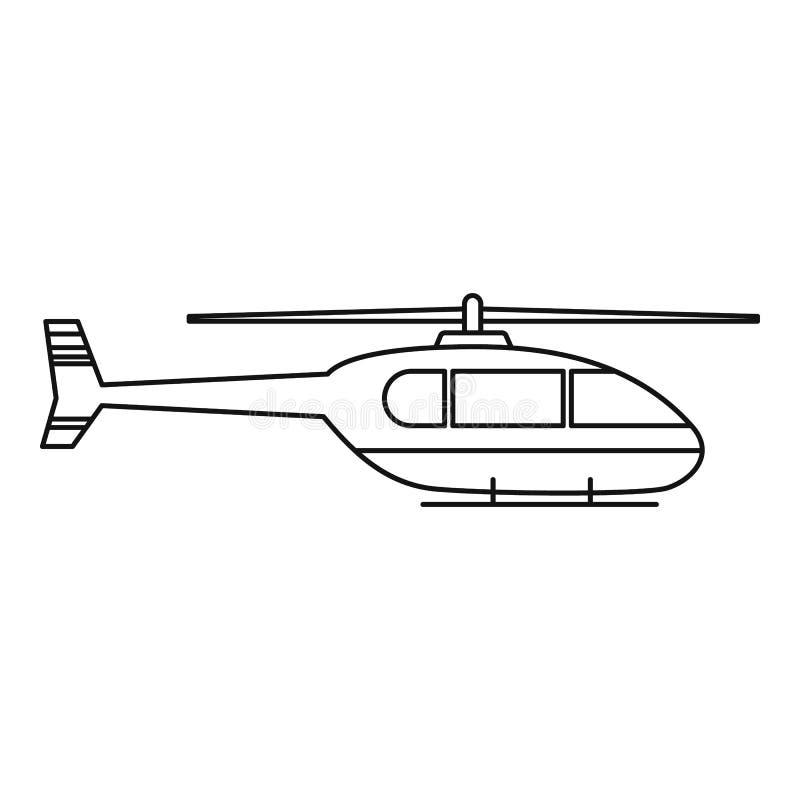 Icona pratica dell'elicottero, stile del profilo illustrazione vettoriale