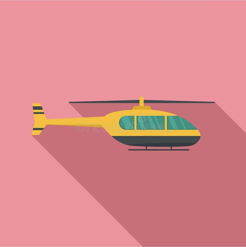 Icona pratica dell'elicottero, stile piano illustrazione di stock