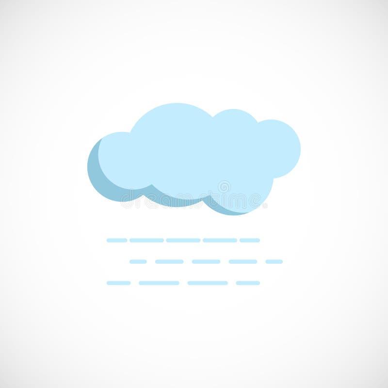 Icona preveduta piana di un tempo nebbioso nuvoloso su bianco illustrazione di stock
