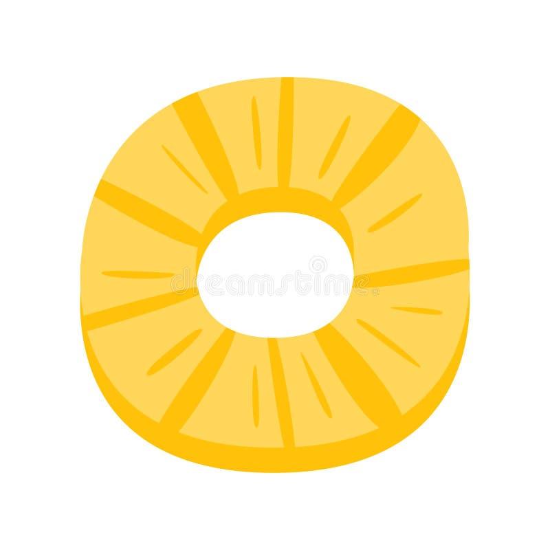 Icona primitiva del fumetto dell'ananas della fetta rotonda della frutta, parte della serie del caffè della pizza di illustrazion illustrazione di stock