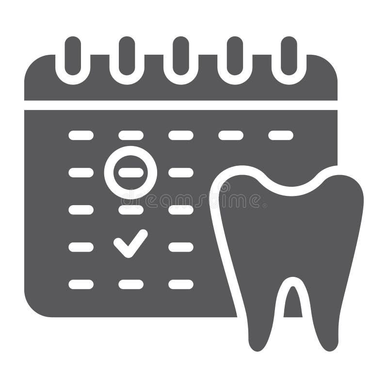 Icona, programma e dentario di glifo di appuntamento del dentista, segno del calendario, grafica vettoriale, un modello solido su illustrazione vettoriale