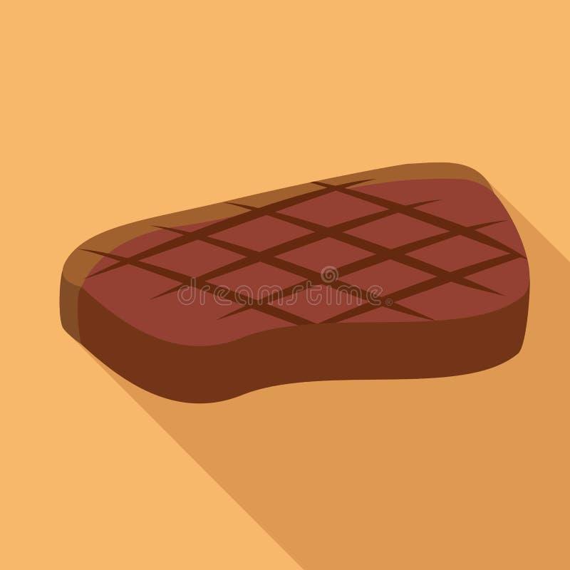 Icona pronta della bistecca del Bbq, stile piano illustrazione di stock