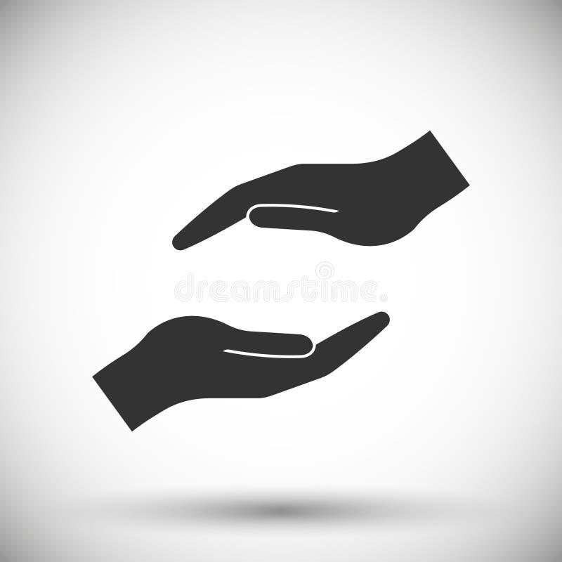 Icona proteggente delle mani illustrazione vettoriale