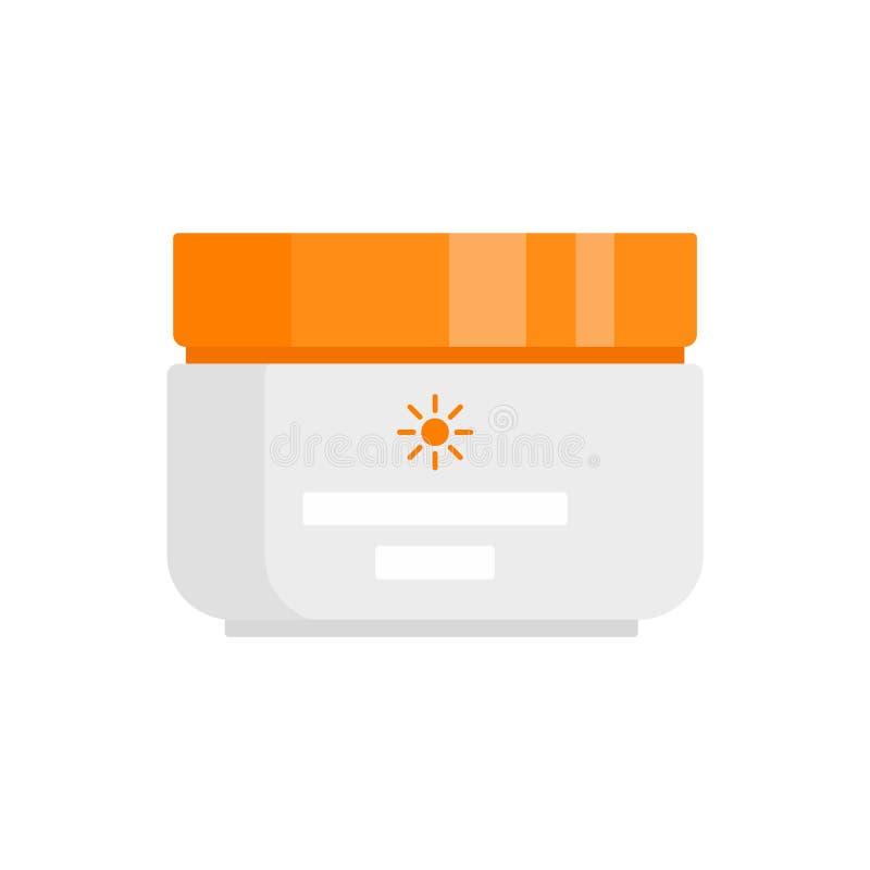 Icona protezione crema solare, stile piatto illustrazione di stock