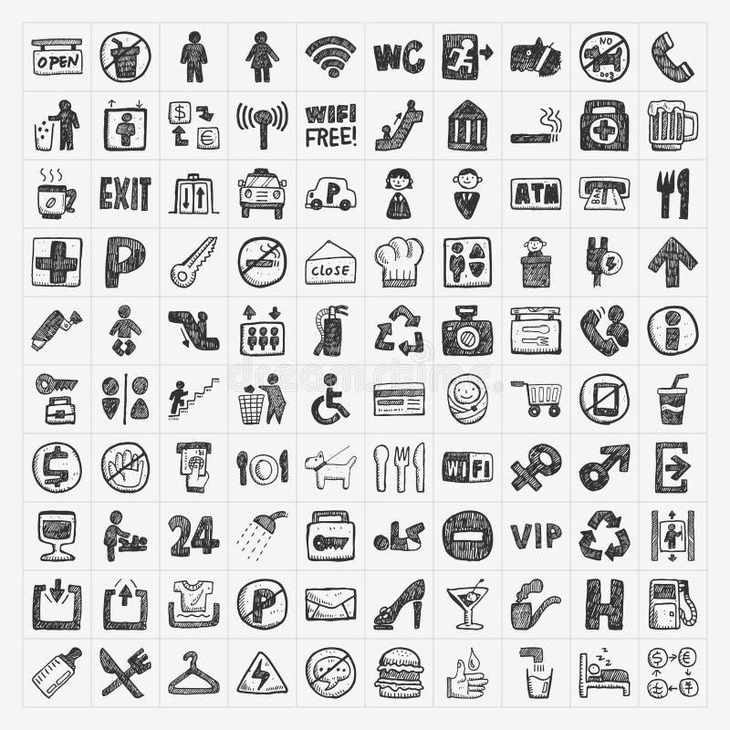 Icona pubblica del segno di scarabocchio illustrazione vettoriale
