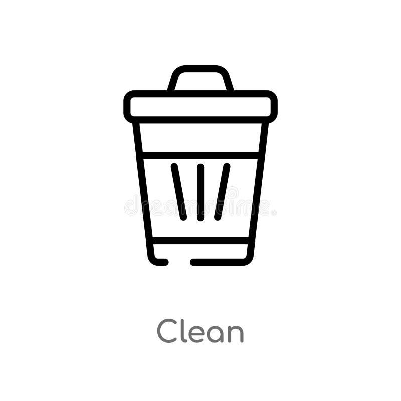 icona pulita di vettore del profilo linea semplice nera isolata illustrazione dell'elemento dal concetto di pulizia colpo editabi illustrazione di stock