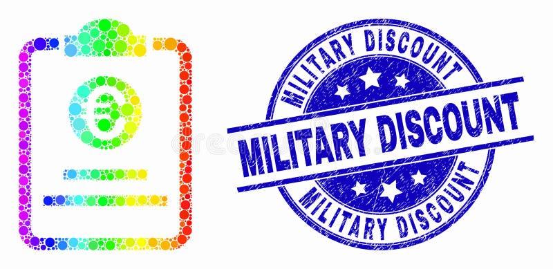 Icona punteggiata spettrale del cuscinetto di prezzi di vettore euro e bollo militare di sconto di lerciume royalty illustrazione gratis