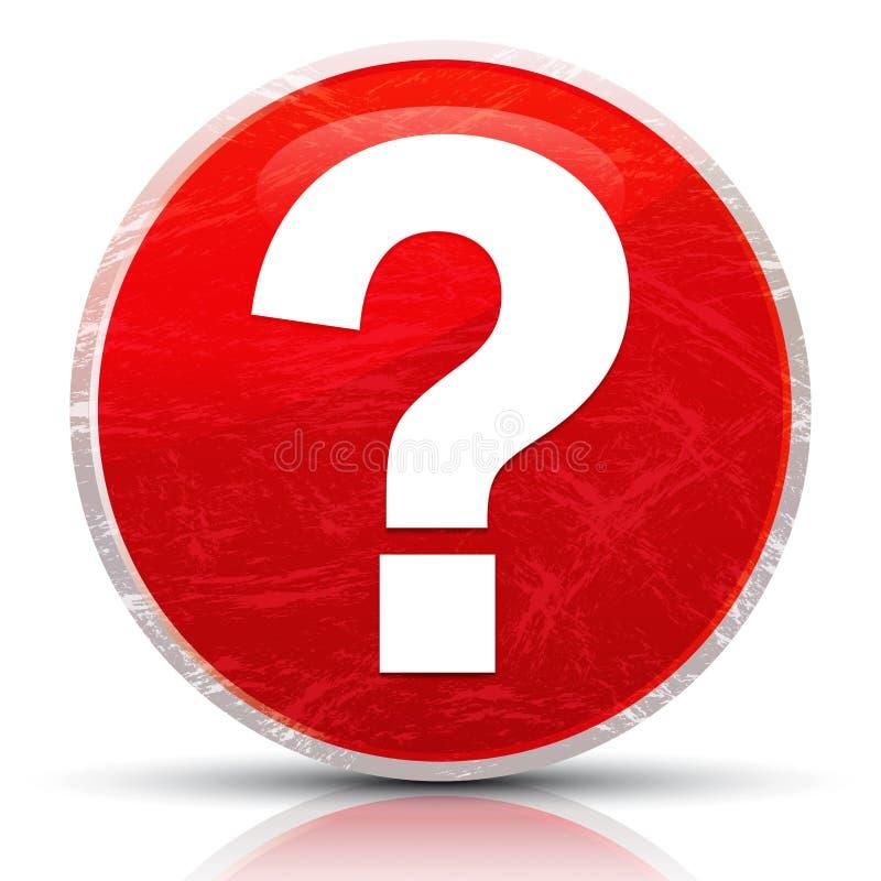 Icona punto interrogativo granulosità metallica disegno del pulsante rotondo rosso astratto illustrazione di stock
