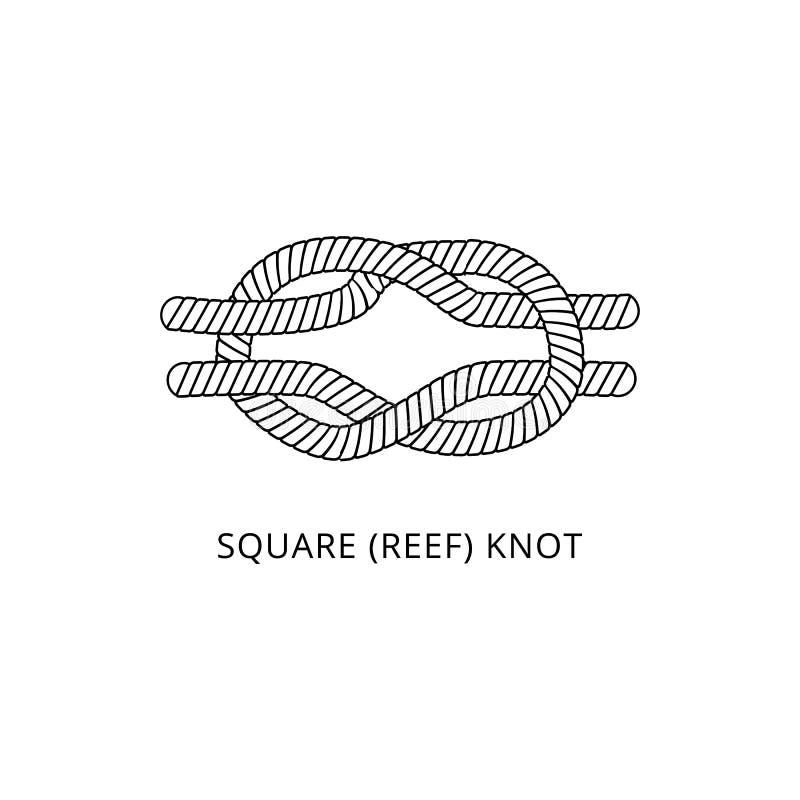 Icona quadrata del nodo di scogliera - legame nautico marino della corda isolato su fondo bianco royalty illustrazione gratis