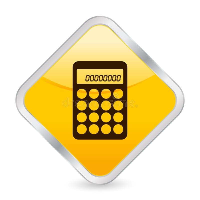 Icona quadrata gialla del calcolatore royalty illustrazione gratis