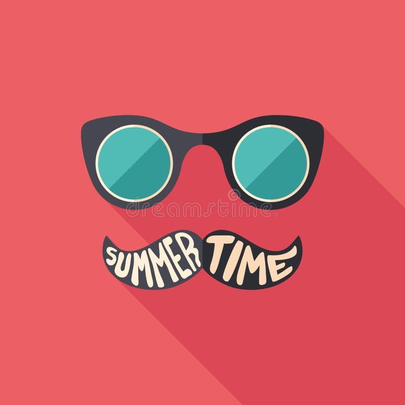 Icona quadrata piana degli occhiali da sole dei pantaloni a vita bassa con le ombre lunghe illustrazione di stock