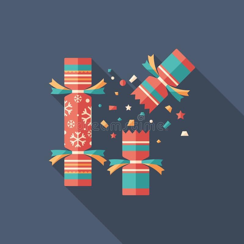 Icona quadrata piana del cracker di Natale con le ombre lunghe royalty illustrazione gratis
