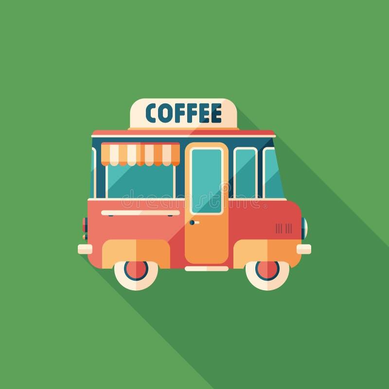Icona quadrata piana del furgone del caffè con le ombre lunghe illustrazione di stock