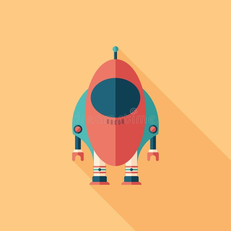 Icona quadrata piana del razzo del robot con le ombre lunghe illustrazione vettoriale