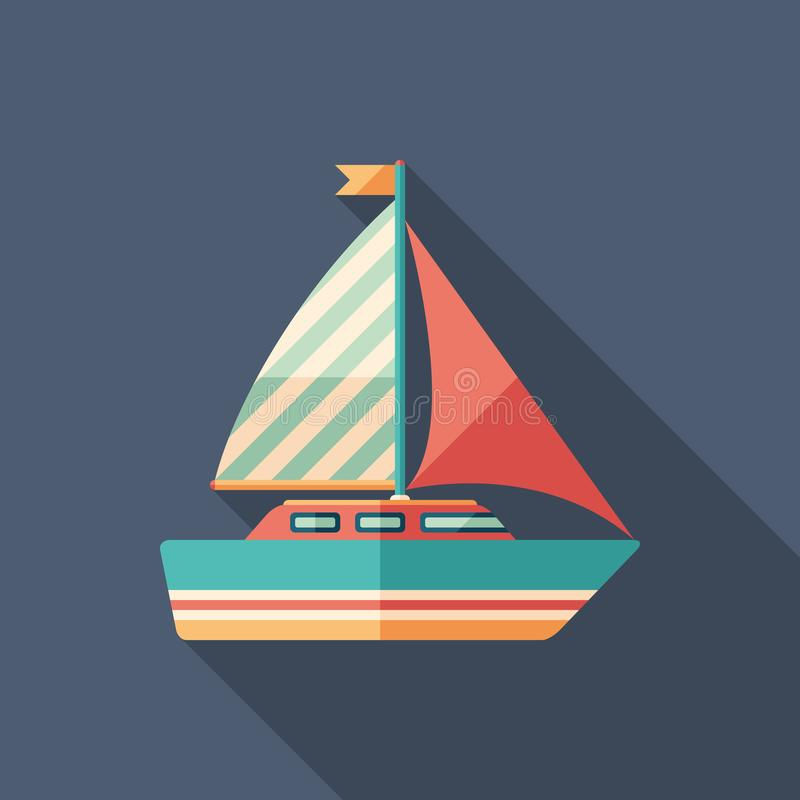 Icona quadrata piana dell'yacht di navigazione con le ombre lunghe illustrazione di stock
