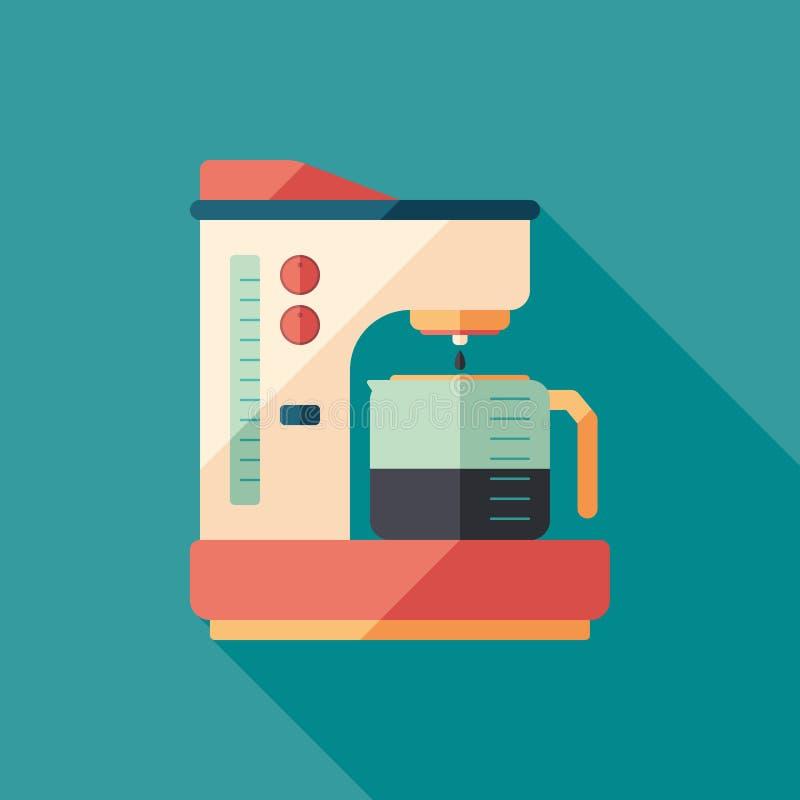 Icona quadrata piana della macchinetta del caffè con le ombre lunghe royalty illustrazione gratis