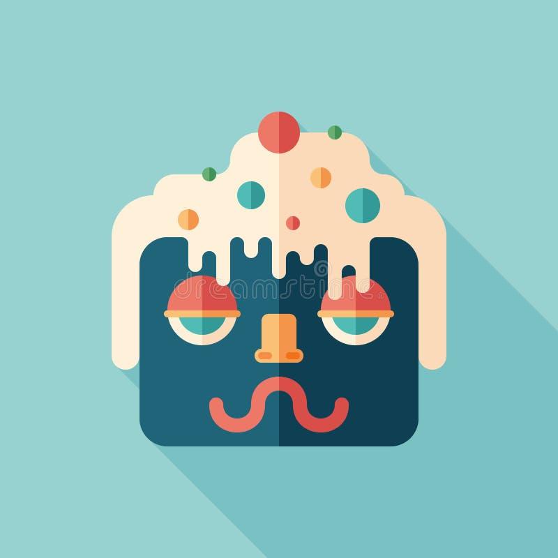 Icona quadrata piana variopinta del carattere del fronte del gelato con le ombre lunghe illustrazione di stock